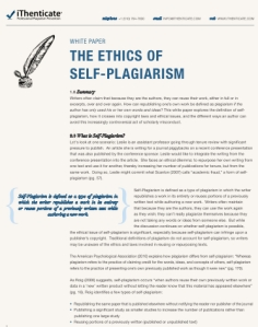 Self-Plariarism White Paper