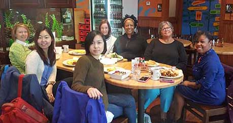 Front L toR: Lisa Sundean, Semin Park (PhD student in Business), and Wanli Xu. Back L to R: Cheryl Beck, Lucinda Canty, Lisa Nemchek, Nayomi Dawes.